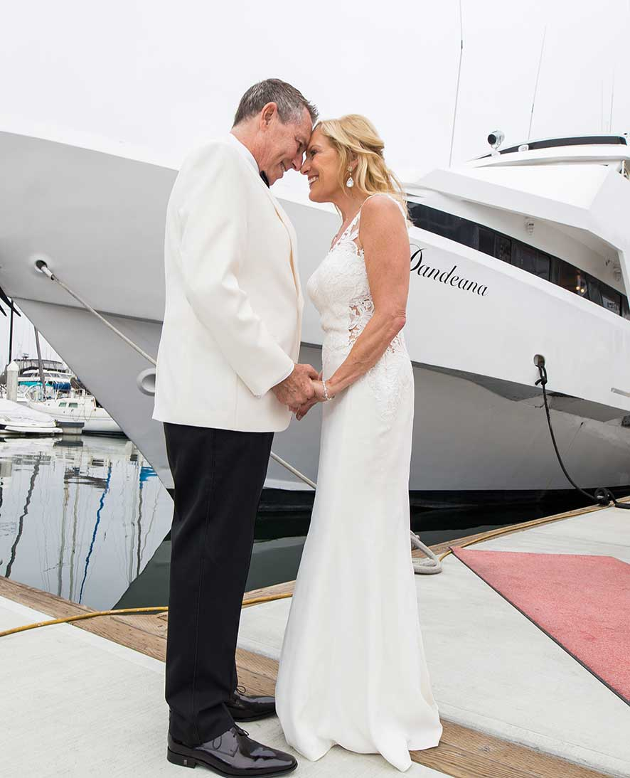 Yacht wedding bride and groom